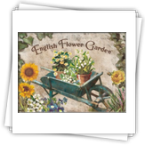 F-008 English Flower Garden Blue Barrow